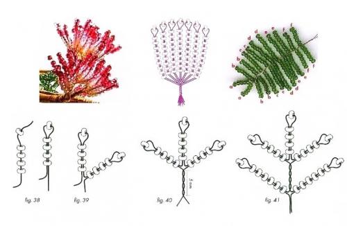 схема плетения альбиции из бисера