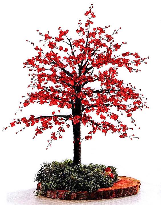 Деревце с красной листвой
