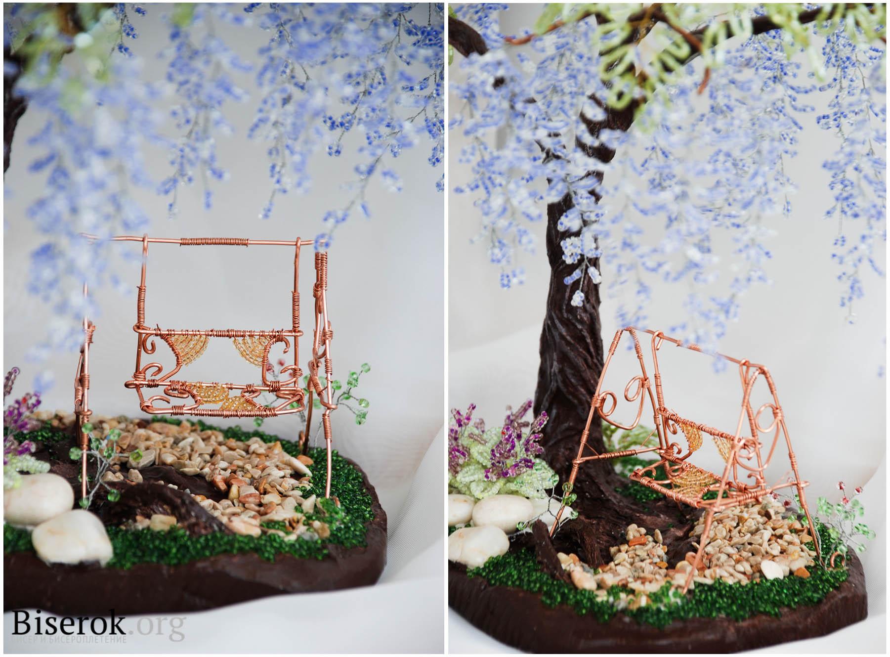 Как сделать скамейку для бисерного дерева