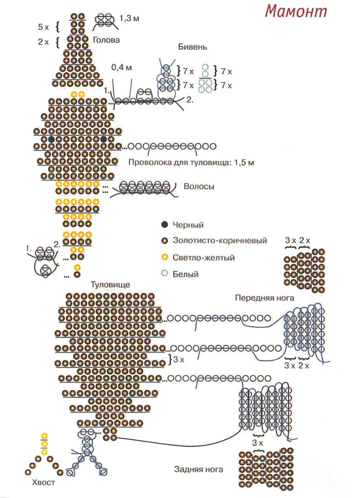 Схема медвежонка для плетения из бисера
