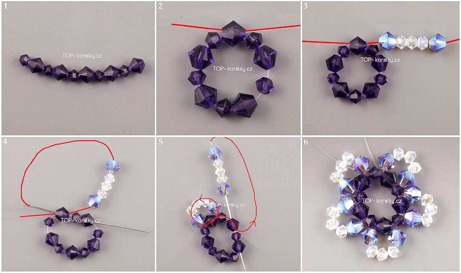 """Серьги  """"Звездочки """" из бисера.  МК Необходимые материалы для плетения: - Биконусные кристаллы 4 мм фиолетового и..."""