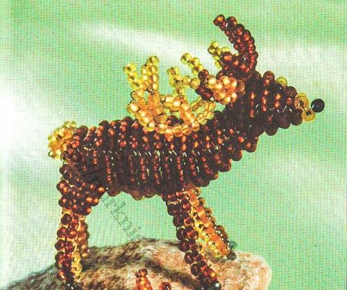 олень с рогами из бисера