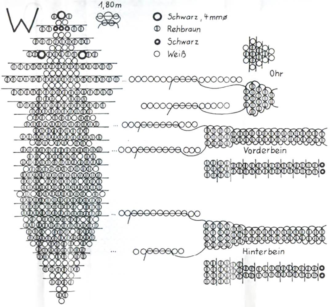 схема фенечки с оленями