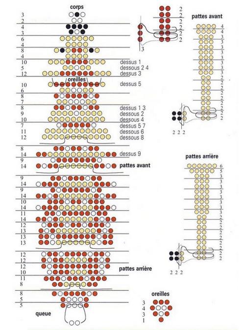 учимся плести олененка. олененок схема плетения.
