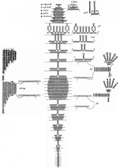 схема динозавра. схема плетения.