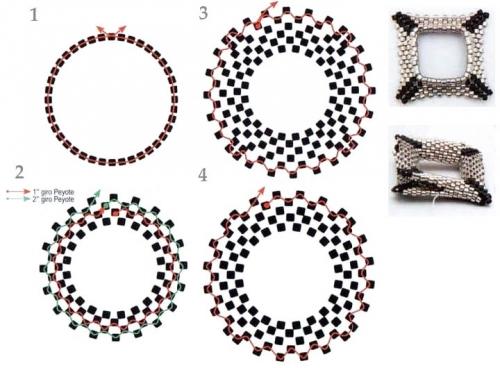 схема плетения квадратного фрагмента