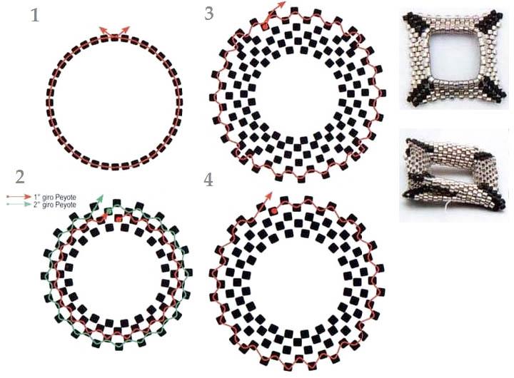 схема плетения квадратного