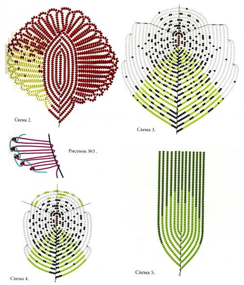 схема плетения лепестков и листьев из бисера