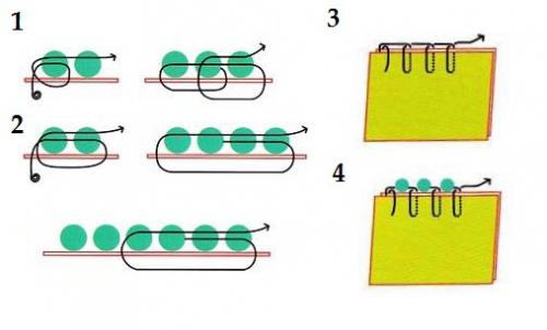 схема того, как вышиваются украшения бисером