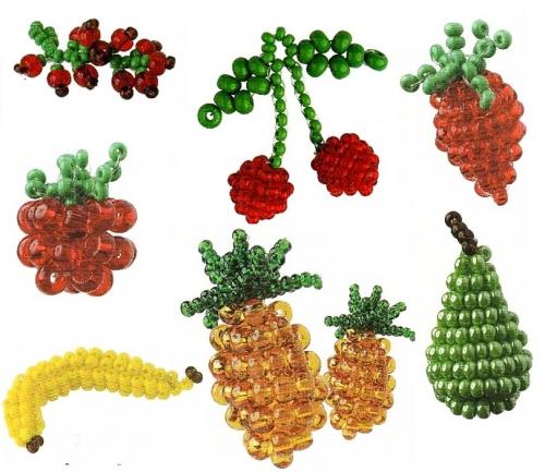 Схема плетения груши, банана, ананаса и клубники Необходимые материалы для плетения: - Груша: бисер зеленый и...