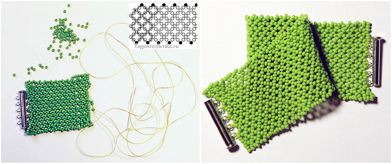 Итак начинаем плетения браслета с основы, которая состоит из ажурной сетки. .  На фото ниже есть схема плетения...