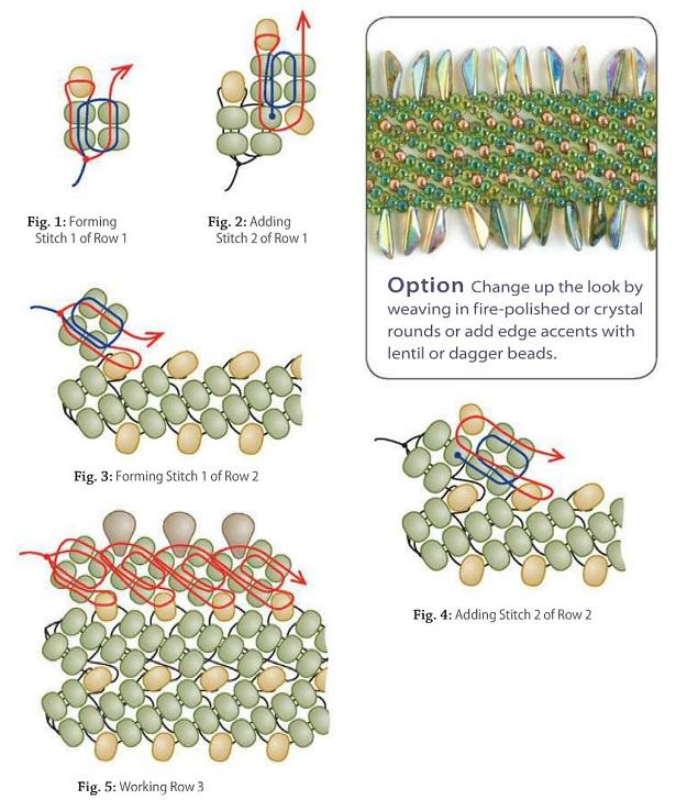 браслеты схемы плетения. схема плетения красивого браслета из бисера.