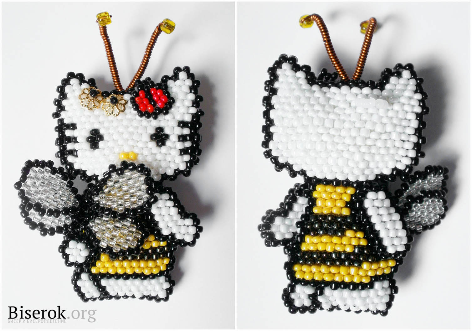 китти пчелка из бисера.