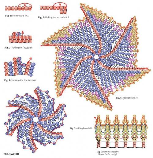 схема плетения лилии из бисера. лилия для колье из бисера.