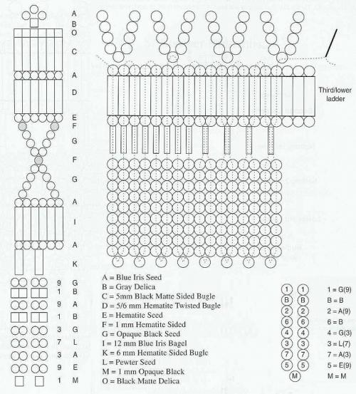 схема для плетения колье из бисера