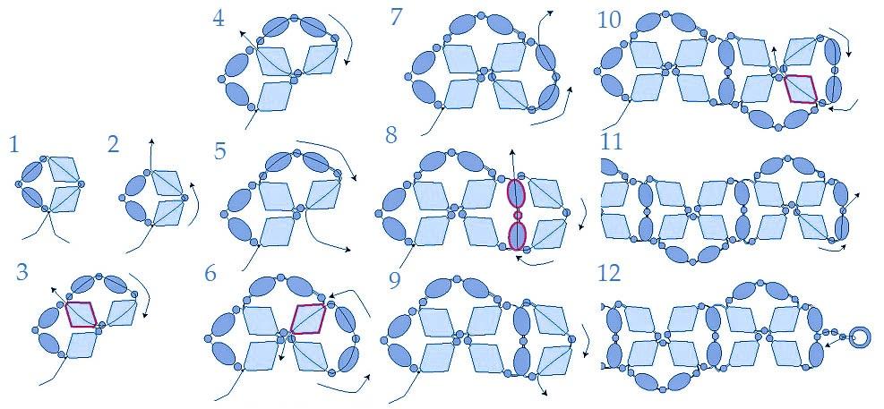 Схемы браслетов из цепочек