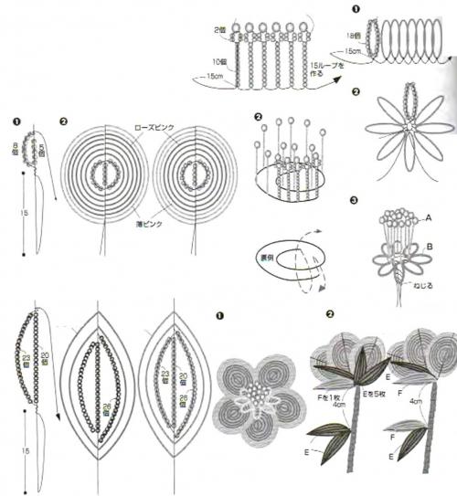 схема плетения цветочков из бисера
