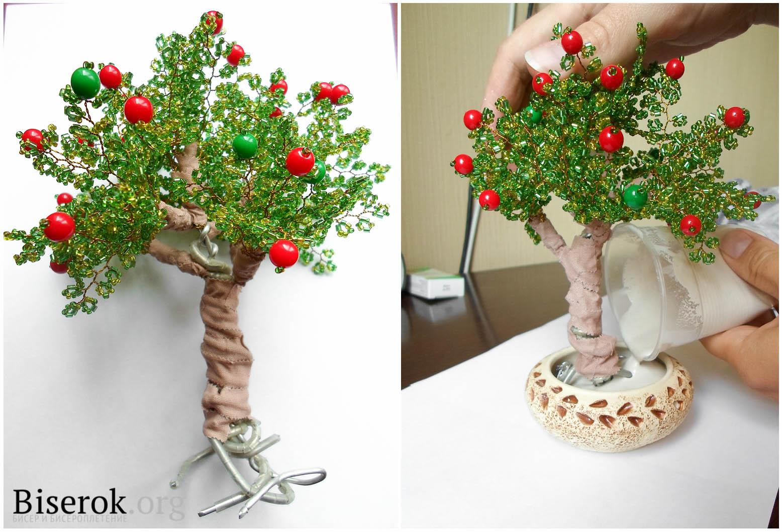 Как сделать ствол у яблони из бисера