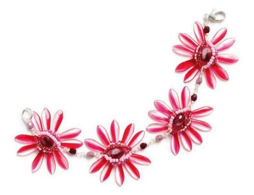 розовый браслет хризантема