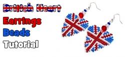 серьги в виде сердца с британский флагом