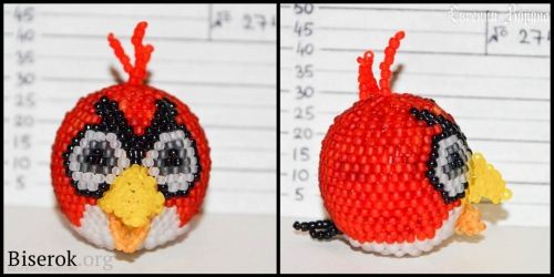 круглая красная птичка из бисера