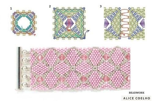 Браслет из квадратных мотивов, схема плетения квадратных мотивов