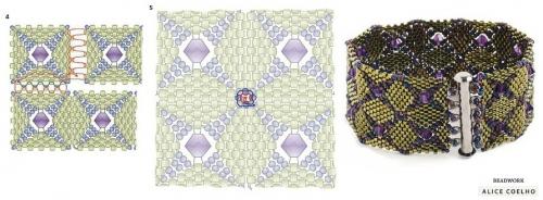Браслет из квадратных мотивов, схема сшивания квадратов