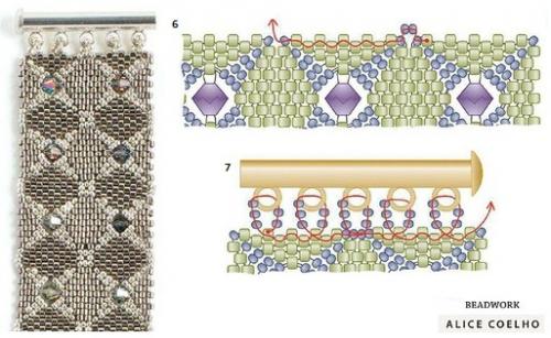 Браслет из квадратных мотивов, схемы оформления края и крепления застежки