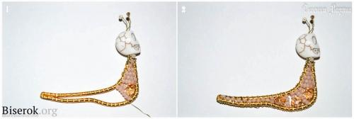 Брошь улитка в технике фриформ, последовательность плетения тельца