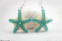 Бело-зеленые звезды из бисера