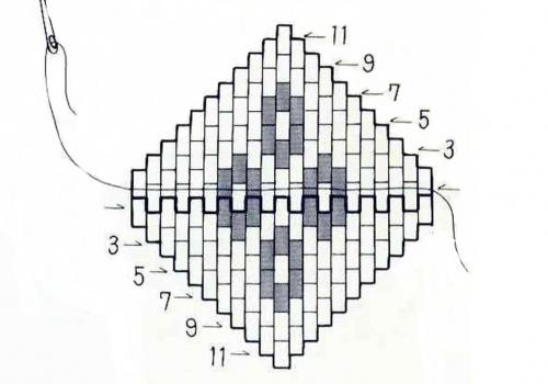 Схема центрального элемента ожерелья из бисера