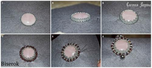 оплетение обшивка кабошона круглой формы техникой мозаика, схема, мастер-класс, МК