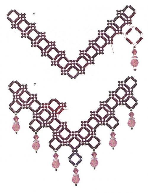 плетение из бисера, схема колье