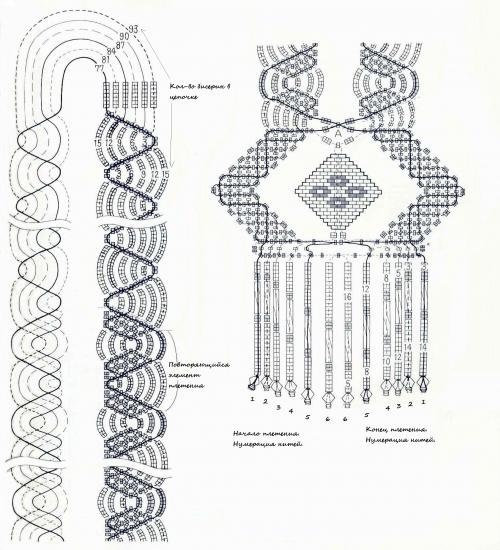 Схема плетения, бисерное ожерелье