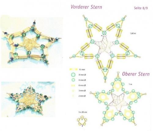 Снежинки и звезды, звездочки из бисера и бусин, схема