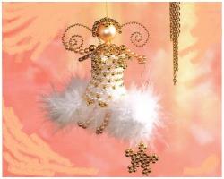 Новогодние ангелы из бисера и бусин, схема