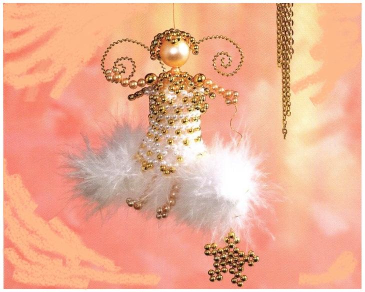 Новогодние ангелы из бисера и