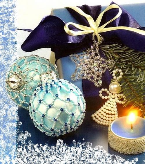 елочные украшения из бисера, оплетение елочных шаров бисером и бусинами, схема