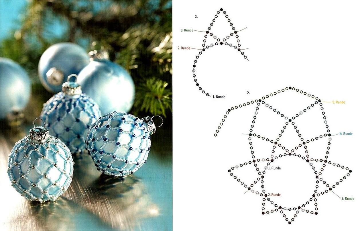 схема плетения новогодних шаров