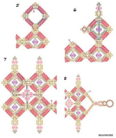 """браслет из бисера и стекляруса, """"Сокровище султана"""", схема плетения"""