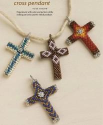 кресты из бисера, схема, подвеска кулон крест