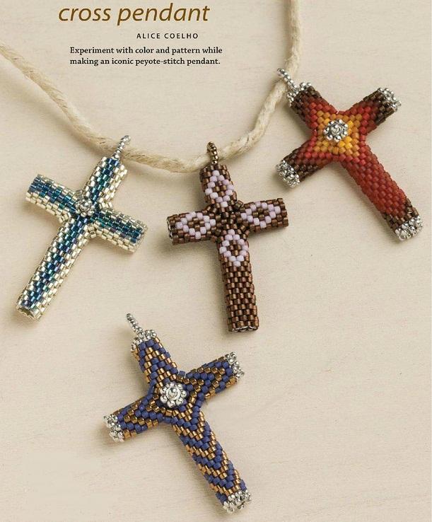 кресты из бисера, схема,