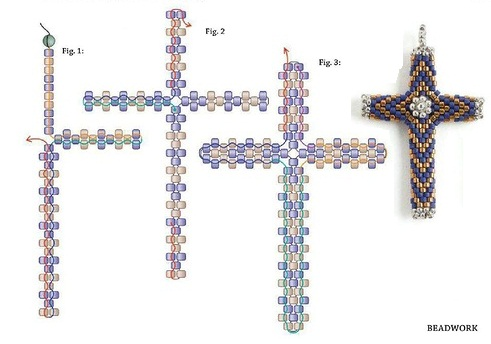 крест из бисера схема, мозаика