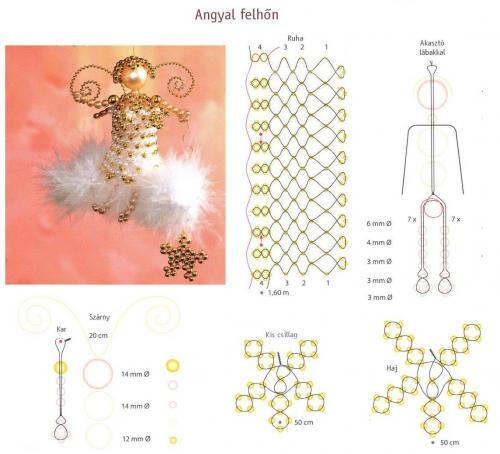 Ангелочек, ангелок из бисера, схема
