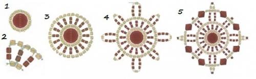 Схема для плетения бордового браслета из квадратных мотивов