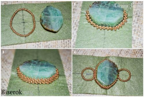 браслет, вышивка бисером, оплетение кабошона не правильной формы мозаикой