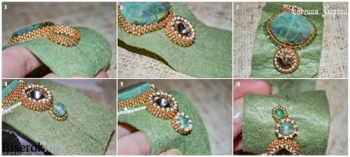 браслет, вышивка бисером, оплетение риволи 18 мм мозаикой, мастер-класс, МК, схема