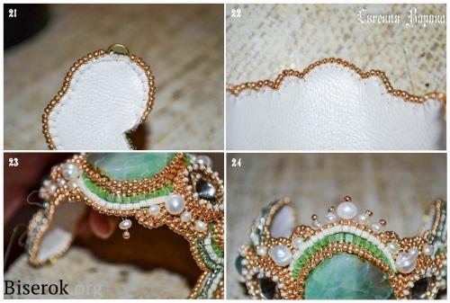 браслет, вышивка бисером, обшивка края Русским способом, мастер-класс, МК, схема