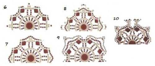 плетение браслета из бисера, квадратные мотивы, схема