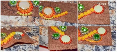 браслет, вышивка бисером, оплетение риволи, схема, мастер-класс,мк, МК, желтый нефри
